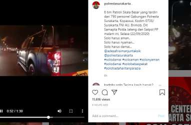 790 Personel Polri, TNI, Brimob, Kopassus Sisir Habis Sudut Kota, Solo Aman!