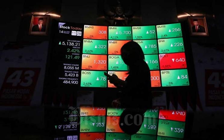 Pengunjung memotret papan elektronik yang menampilkan pergerakan Indeks Harga Saham Gabungan (IHSG) di Bursa Efek Indonesia, Jakarta, Senin (14/9/2020). Bisnis - Eusebio Chrysnamurti