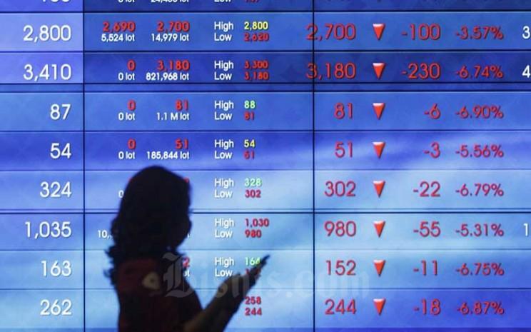 Karyawan beraktifitas di dekat layar pergerakan Indeks Harga Saham Gabungan (IHSG) di Bursa Efek Indonesia, Jakarta, Kamis (10/9/2020).Bisnis - Himawan L Nugraha