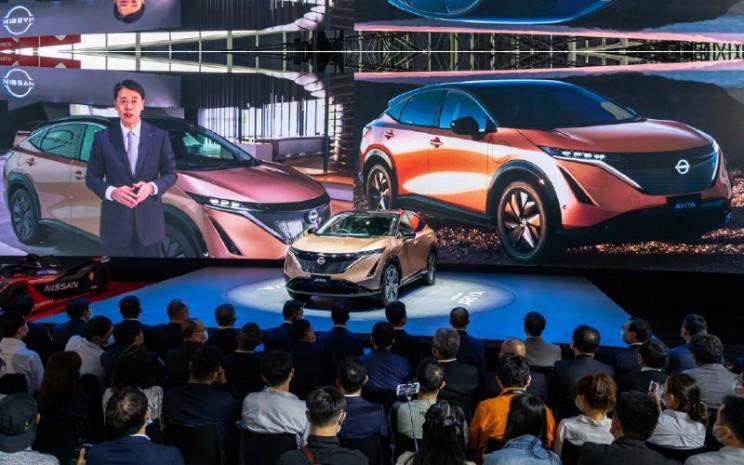 All-new Ariya crossover EV dari Nissan melakukan debutnya di China di Auto China 2020, Sabtu (26/9/2020).  - Nissan
