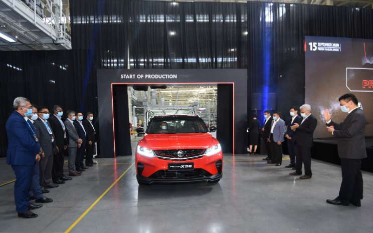 Peluncuran SUV Proton X50 dari jalur perakitan di  Pabrik Tanjung Malim.  - Proton