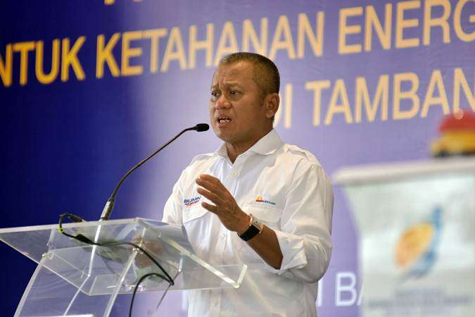 Direktur Utama PT Bukit Asam Tbk Arviyan Arifin menjelaskan tentang potensi investasi batu bara sebagai subtitusi gas elpiji pada pencanangan pembangunan pabrik hilirisasi batu bara menjadi Dimethyl Ether (DME) di tambang Peranap PT Bukit Asam di Kabupaten Inhu, Riau, Kamis (7/2/2019). - ANTARA/FB Anggoro