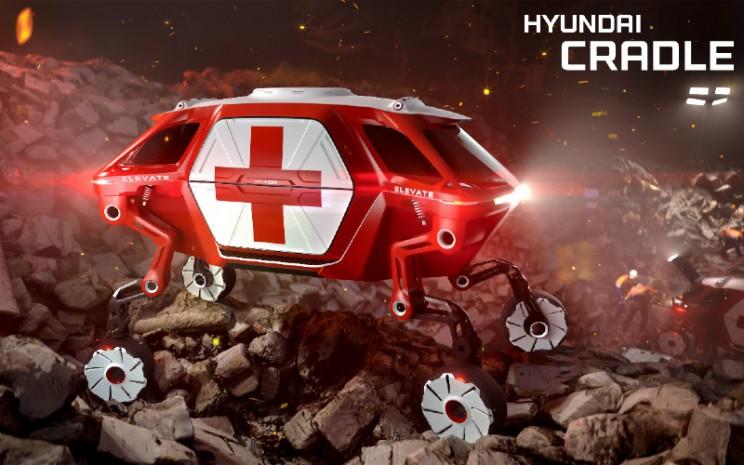 Hyundai Elevate. New Horizons Studio menggambarkan kendaraan berkeliaran dengan mobilitas yang belum pernah ada sebelumnya.  - Hyundai