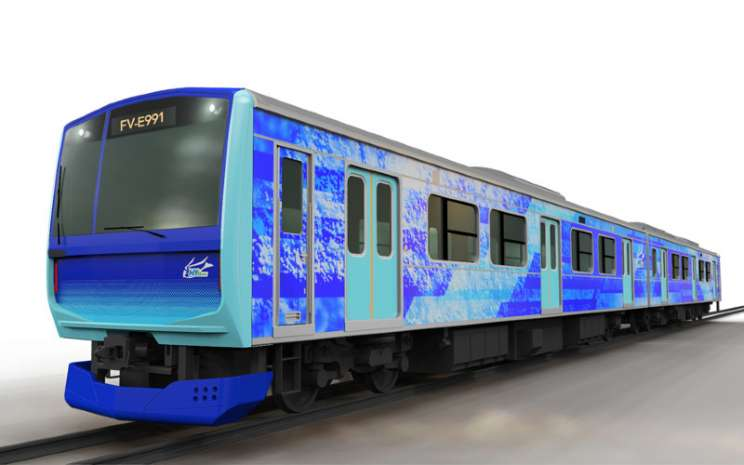 Kereta Api Hybari. Namanya berasal dari singkatan dari hydrogen-hybrid advanced rail vehicle for innovation.  - Toyota