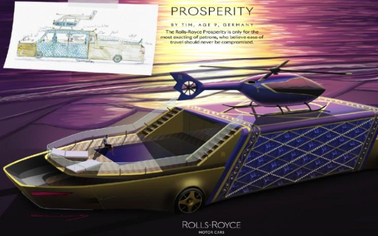 Desain mobil masa depan karya anak/anak. Rolls/Royce Prosperity oleh Tim, umur 9, Jerman. Rolls/Royce.