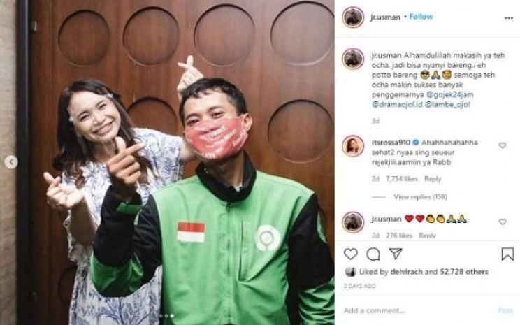 Tangkapan layar cerita viral driver ojol bernama Usman (jr.usman) bertemu idolanya Rossa / Instagram jr.usman