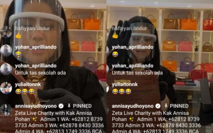 Annisa Yudhoyono melakukan live Instagram menjual tas untuk aksi amal. - tangkapan layar