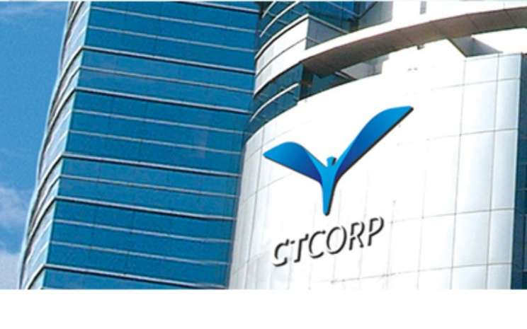 Logo CT Corpora di salah satu sudut Menara Bank Mega, Jakarta Selatan. - CTCorp