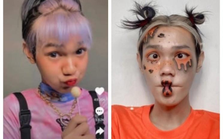 Pelajar SMK, Dafa Atmaja melakukan make-up karakter selama pandemi. - istimewa