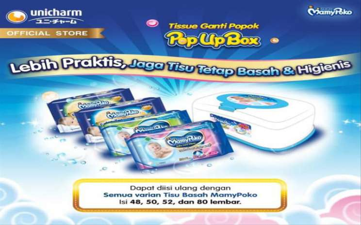 Tisu basah mammy poko, salah satu produk andalan PT Uni/charm Indonesia Tbk. (UCID), Istimewa
