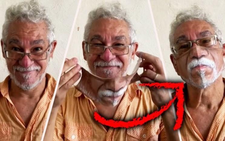 Seniman Brasil melukis masker yang nyata dengan guratan wajah manusia. - insideedition