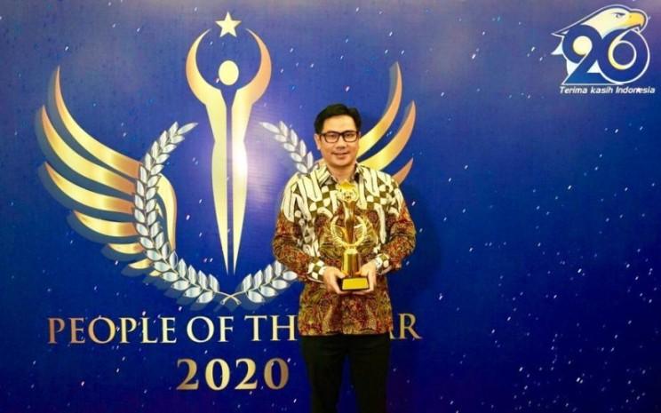 Presiden Direktur PT Sumber Alfaria Trijaya Tbk. Anggara Hans Prawira dalam acara malam anugerah People of the Year 2020 yang diselenggarakan Metro TV, Rabu (24/11/2020) - Istimewa