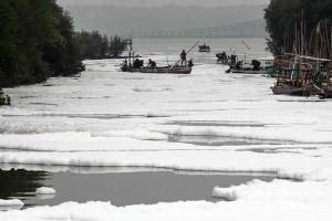 Sungai di Surabaya Diselimuti Busa Putih Yang Diduga Limbah