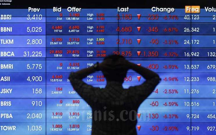 Karyawan beraktifitas di dekat layar pergerakan Indeks Harga Saham Gabungan (IHSG) di Bursa Efek Indonesia, Jakarta, Kamis (10/9/2020). . Bisnis - Himawan L Nugraha
