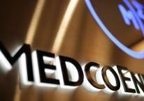 Logo perusahaan di kantor pusat PT Medco Energi Internasional. (Dimas Ardian/Bloomberg News)