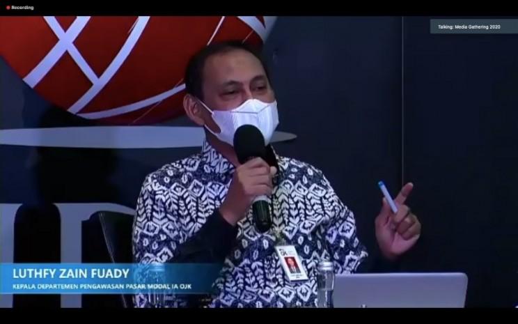 Kepala Departemen Pengawasan Pasar Modal IA OJK Luthfy Zain Fuady dalam paparannya di Media Gathering OJK-BEI, Selasa (1/12/2020) - Dhiany Nadya Utami