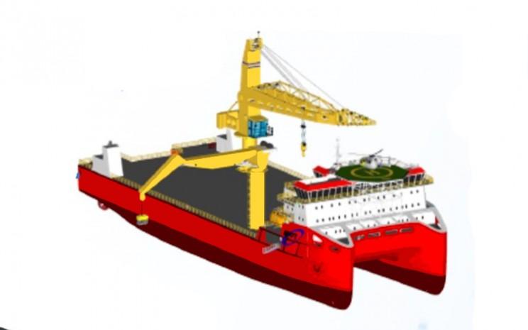 Pekerjaan desain wahana angkut ALPO ini secara khusus dilakukan pada jenis catamaran dan tongkang (barge).  - BPPT