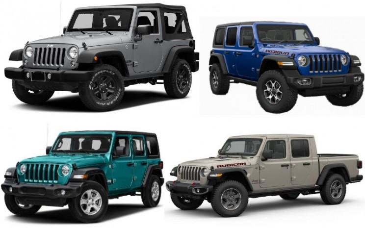 Lineup Jeep di Indonesia terdiri atas Wrangler Sport 2D, Wrangler Sport 4D, Wrangler Sahara 4D, Wrangler Rubicon 2D dan 4D, serta tipe Gladiator.  - Jeep