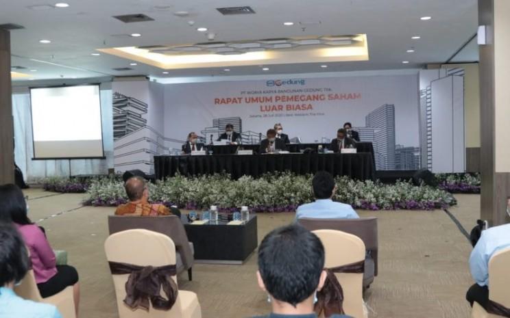 Suasana rapat umum pemegang saham luar biasa PT Wijaya Karya Bangunan Gedung Tbk di Jakarta, Selasa (28/7/2020). Dalam rapat yang menerapkan protokol kesehatan dengan menjaga jarak tersebut, perseroan mengubah susunan pengurus. - WIKA Gedung