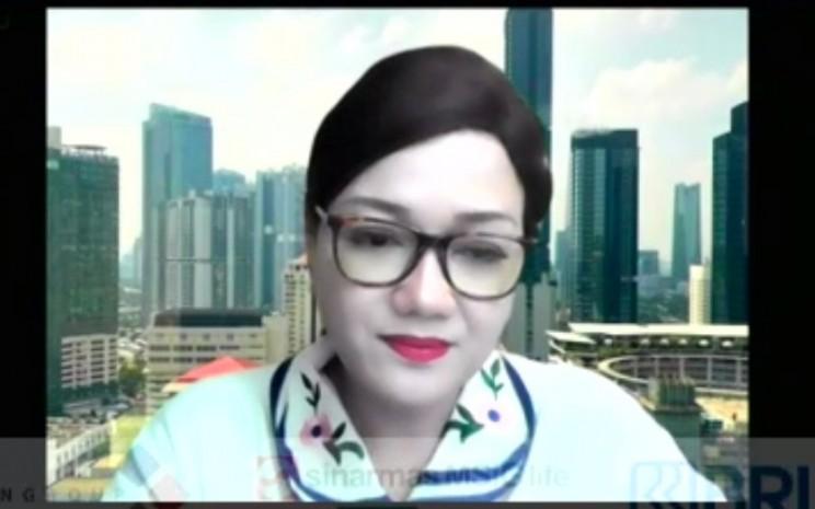 Direktur Utama BRI Danareksa Sekuritas Frederica Widyasari ketika paparan dalam Webinar Proyeksi Pasar Modal Indonesia 2021, Jumat (18/12/2020). - Istimewa