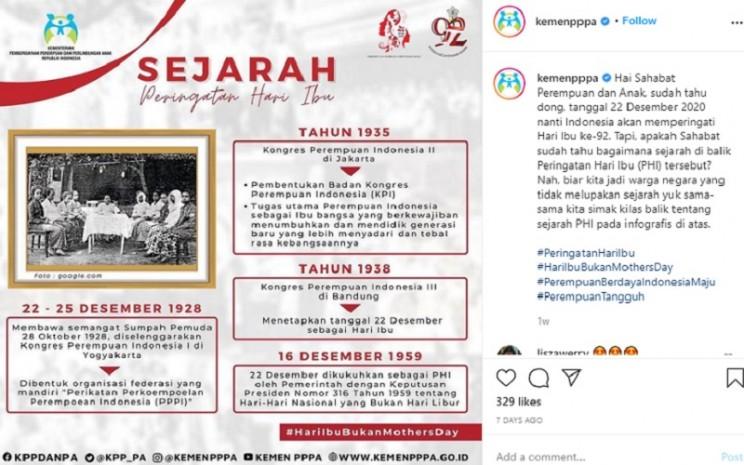 Sejarah Hari Ibu Nasional  -  Instagram @Kemenpppa