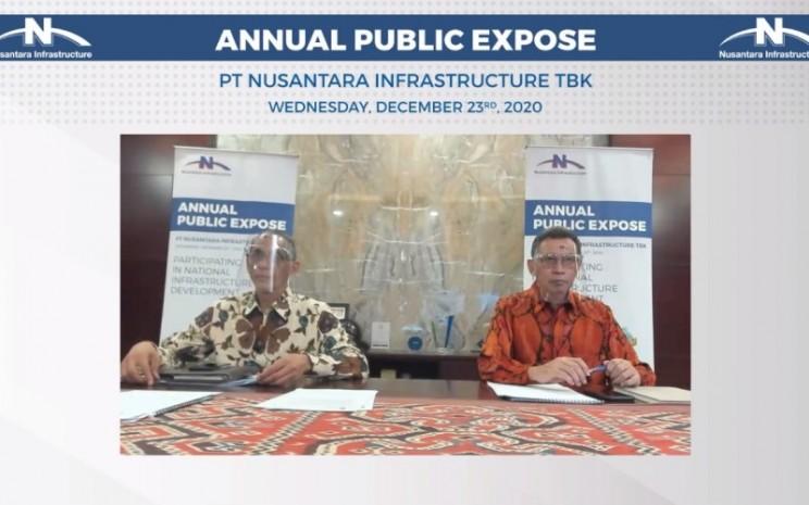 Direktur PT Nusantara Infrastructure Tbk. Danni Hasan dan Presiden Direktur PT Nusantara Infrastructure Tbk. M. Ramdani Basri menyampaikan prospek bisnis perseroan untuk 2021 dalam paparan publik secara daring, Rabu (23/12/2020). - Istimewa