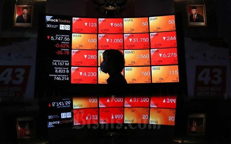 Karyawan beraktivitas didepan papan elektronik yang menampilkan pergerakan Indeks Harga Saham Gabungan (IHSG) di Bursa Efek Indonesia, Jakarta, Senin (30/11/2020). Bisnis - Eusebio Chrysnamurti