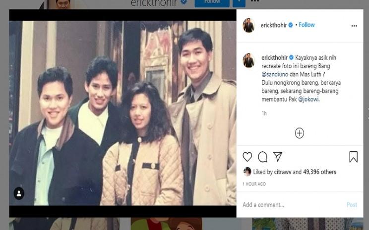 Menteri BUMN Erick Thohir menggah foto lawas dengan Sandiaga Uno dan M. Lutfi  -  Instagram @erickthohir