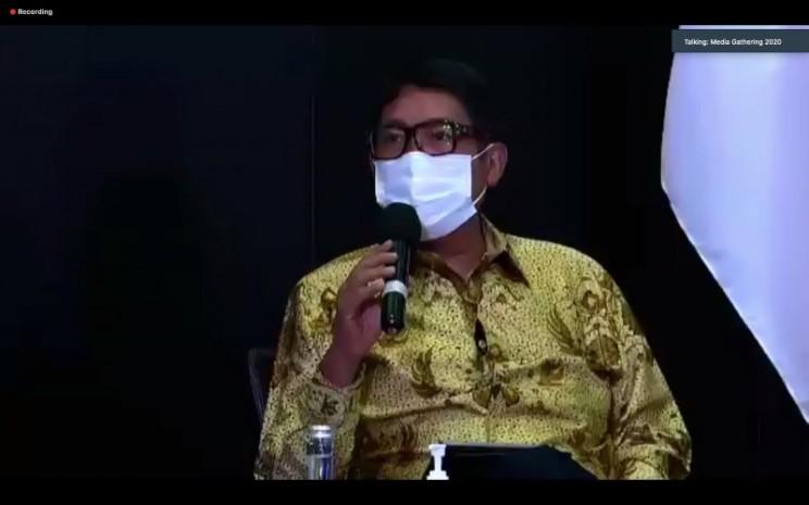 Direktur Utama PT Bursa Efek Indonesia Inarno Djajadi saat paparan dalam Media Gathering Pasar Modal 2020, Selasa (1/12 - 2020)