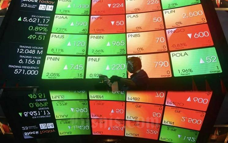 Karyawan memotret layar Indeks harga saham gabungan (IHSG) di main hall Bursa Efek Indonesia di Jakarta, Senin (23/11/2020). Bisnis - Abdurachman