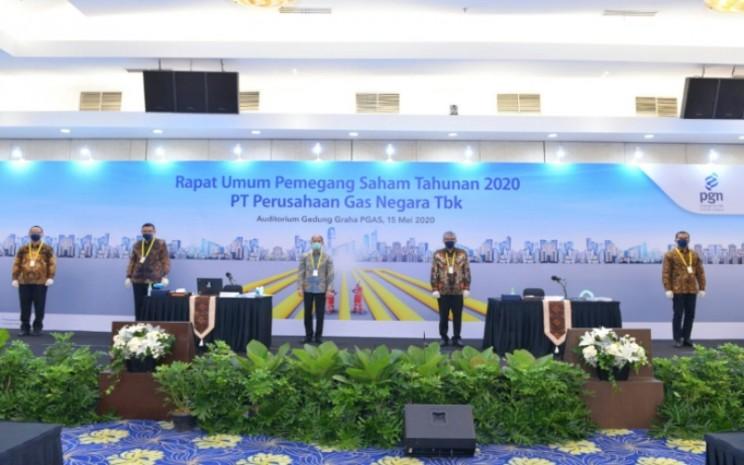 Suasana RUPS PT Perusahaan Gas Negara Tbk, Jumat (15/5 - 2020). Tampak Komisaris Utama PGN Arcandra Tahar (tengah), Gigih Prakoso (kedua dari kanan). Istimewa / PGN