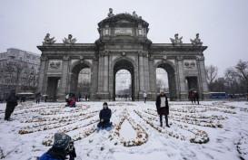 Badai Filomena Tutupi Kota dengan Salju, Bandara Madrid Ditutup