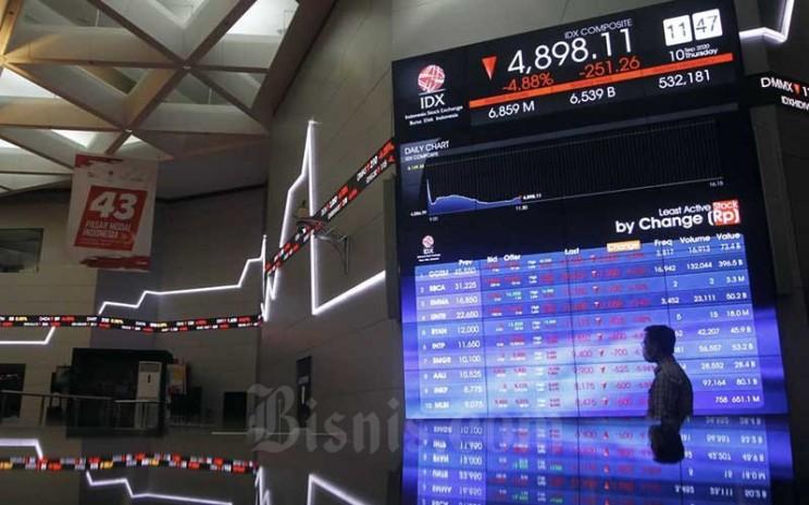 Karyawan beraktifitas di dekat layar pergerakan Indeks Harga Saham Gabungan (IHSG) di Bursa Efek Indonesia, Jakarta, Kamis (10/9/2020).  - Bisnis/Himawan L Nugraha