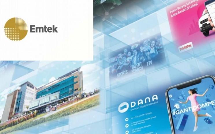 Logo PT Elang Mahkota Teknologi Tbk dan sejumlah portofolio usahanya. - emtek