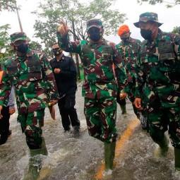 Panglima TNI Marsekal TNI Hadi Tjahjanto Tinjau Lokasi Banjir di Kalimatan Selatan