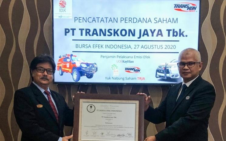 PT Transkon Jaya Tbk. (TRJA) resmi menjadi perusahaan tercatat di Bursa Efek Indonesia pada Kamis (27/8 - 2020). Istimewa
