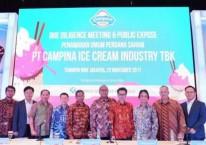 Direksi dan manajemen PT Campina Ice Cream Industry Tbk. (CAMP) menjelang Initial Public Offering (IPO) pada 2017./Dok. Campina\\r\\n