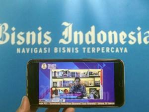 Airlangga Hartarto Berikan Paparan saat Bisnis Indonesia Business Challenges 2021