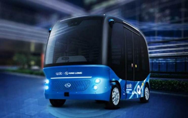 Apollo Minibus, kendaraan otonom yang dikembangkan dari teknologi Baidu, untuk angkutan perkotaan./Antara - Baidu