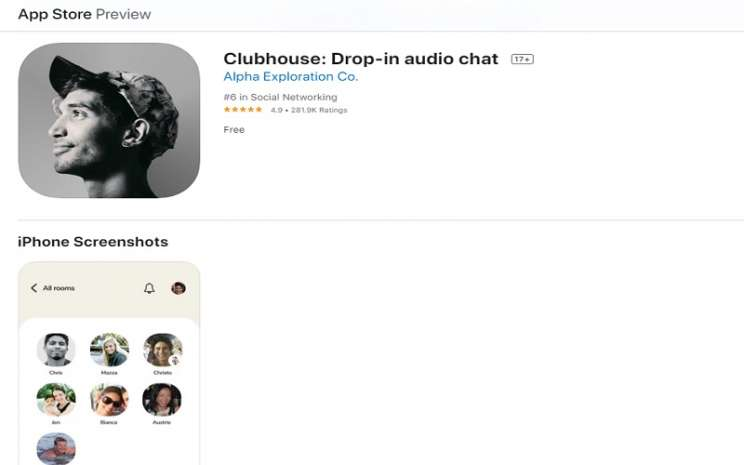 Tampilan Aplikasi Clubhouse di App Store iPhone