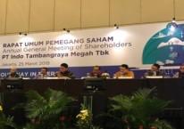 Direksi PT Indo Tambangraya Megah Tbk. menggelar konferensi pers usai menggelar rapat umum pemegang saham tahunan di Jakarta, Senin (25/3/2019)./Bisnis/M. Nurhadi Pratomo
