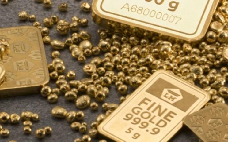Emas batangan cetakan PT Aneka Tambang Tbk. Harga emas 24 karat Antam cenderung melemah pada pekan ini mengikuti tren emas global. - logammulia.com