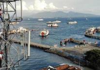 Teknisi XL Axiata melakukan pemeliharaan perangkat BTS di atas tower yang berlokasi di kawasan Pelabuhan Penyeberangan Ketapang, Banyuwangi, Jawa Timur, Kamis (14/3/2019)./Bisnis-Abdullah Azzam