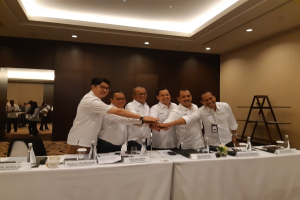 Direksi PT Bukit Asam Tbk. usai paparan publik di Jakarta, Senin (11/3/2019)./Bisnis - Anitana W. Puspa
