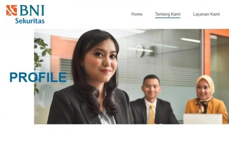 Halaman muka website BNI Sekuritas. Anak usaha Bank Negara Indonesia (BNI) mencatat lonjakan  transaksi via online dalam empat bulan terakhir. Geliat investasi dari kalangan muda turut menambah jumlah investor ritel yang saat ini mencapai 160.000. - bnisekuritas.co.id