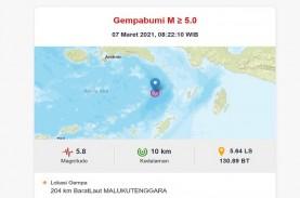 Gempa Magnitudo 5,8 Guncang Barat Laut Maluku Tenggara