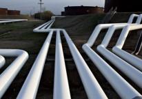 Pemandangan pipa minyak di dekat pusat penyimpanan di Cushing, Oklahoma. -/Bloomberg.