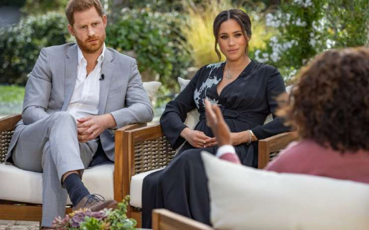Wawancara Khusus CBS Oprah with Meghan and Harry.  - Bloomberg