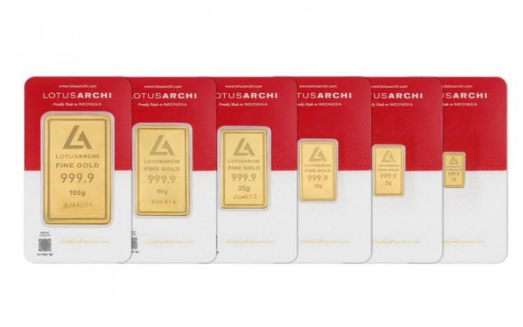 Produk emas 24 Karat Lotus Archi, produk PT Archi Indonesia, entitas Grup Rajawali. -  Istimewa