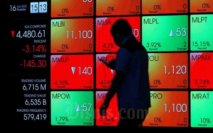Karyawan melintas di depan layar pergerakan Indeks Harga Saham Gabungan (IHSG) di PT Bursa Efek Indonesia, Jakarta, Kamis (16/4/2020). Bisnis - Arief Hermawan P